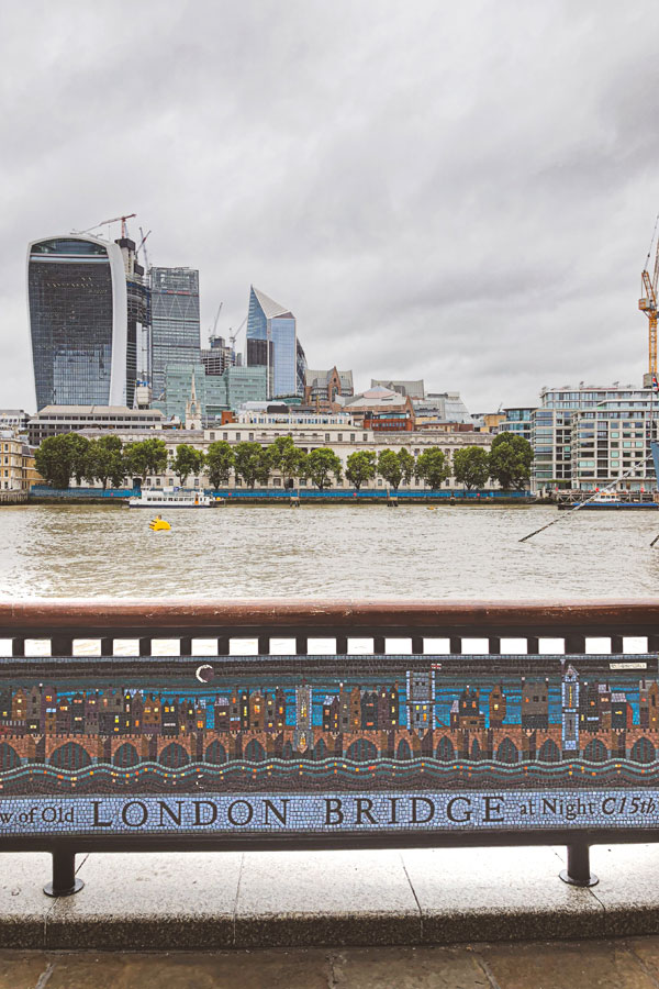 mosaic of 15th-century London bridge