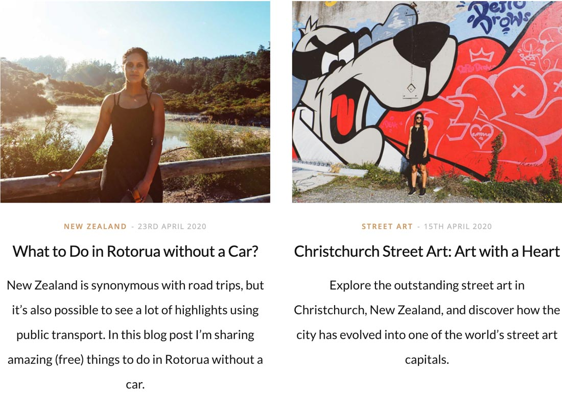 screenshots of two articles about New Zealand on my cultural travel blog Miss Travel Clogs
