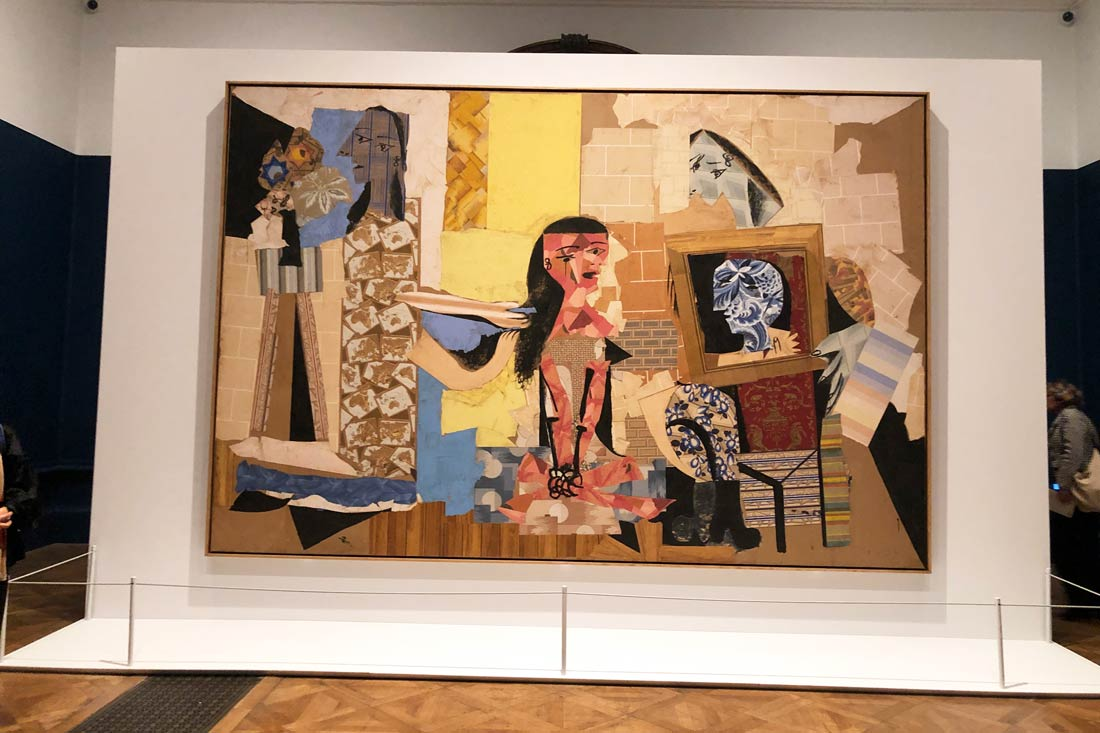 Collage in the Picasso on Paper exhibition at the Royal Academy, London 2020