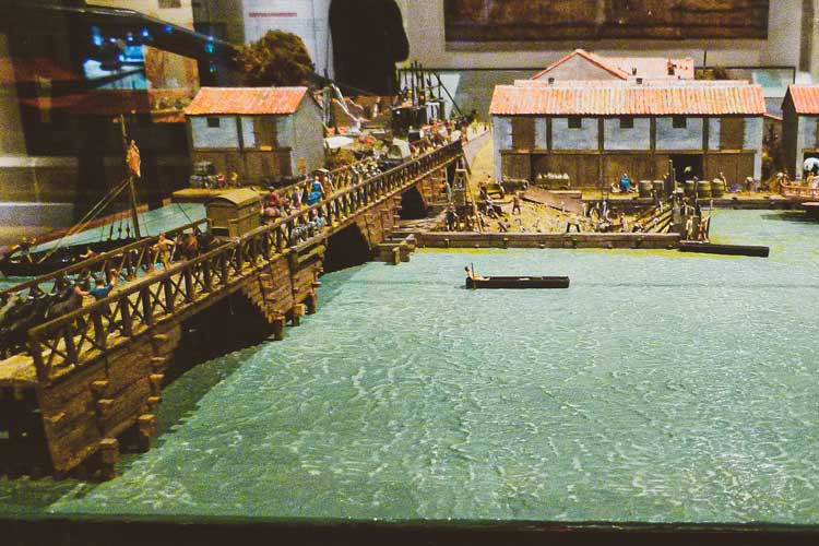 model of London Bridge in Roman times in the Museum of London