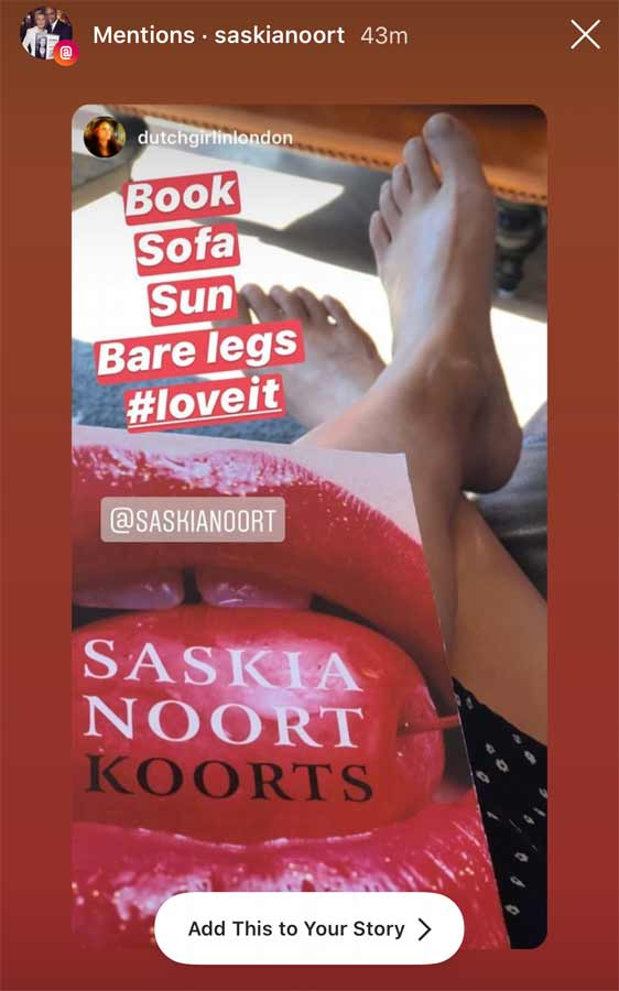 Instagram Story screenshot of author Saskia Noort resharing my photo with her book 'Koorts' (Dutch for fever)