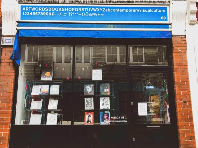 Exterior of Artword Bookshop in Rivington Street, East London