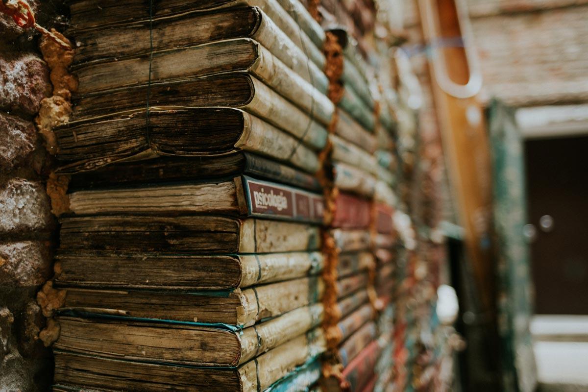 stacks of vintage books