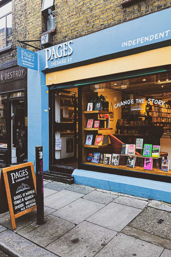 Exterior of Pages bookshop in Shoreditch, East London