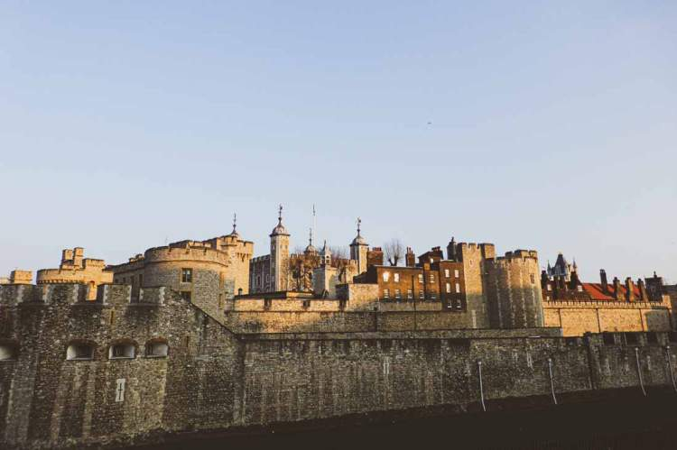 The various layers of walls show how the Tower of London has been extended and altered over history