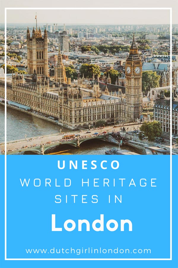 Pinterest image of Westminster Palace one of the four UNESCO World Heritages Sites in London