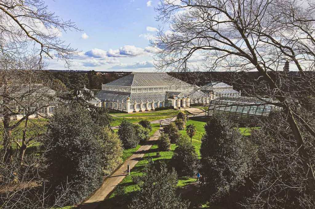 View of the greenhouse at Kew Gardens, the world's largest Victorian greenhouse