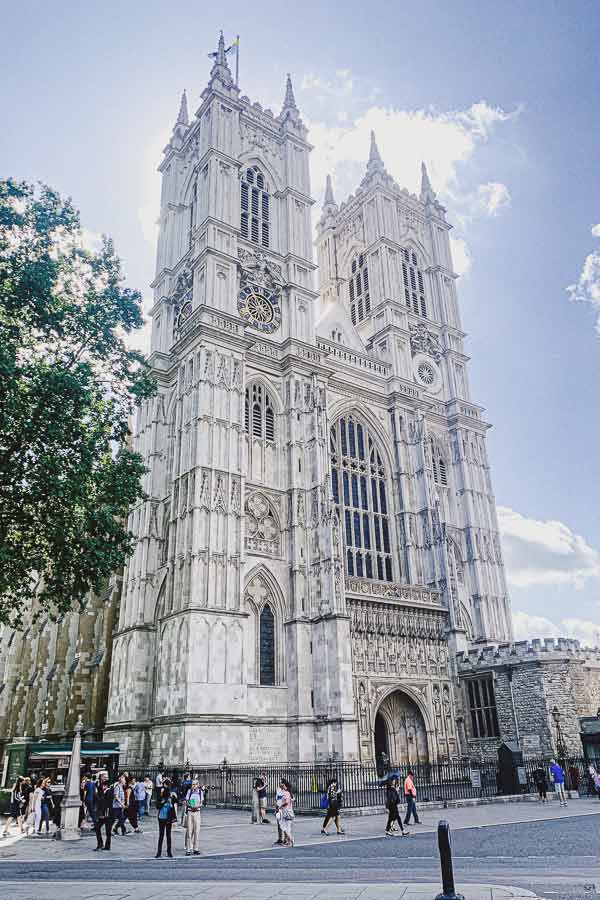 view of the front of Westminster Abbey, one of the UNESCO World Heritage Sites in London