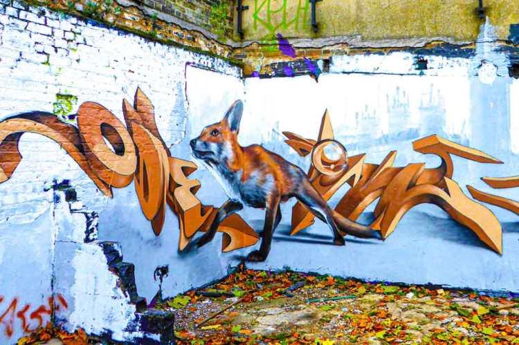 3D street art mural of a fox in London by Odeith
