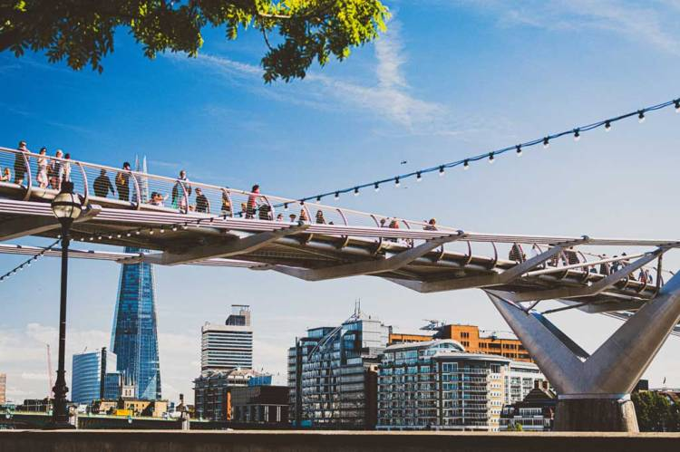 side view of the futuristic Millennium Bridge in London