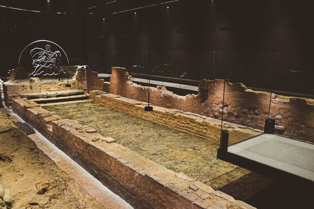 inside the ruins of Roman Temple of Mithras in London