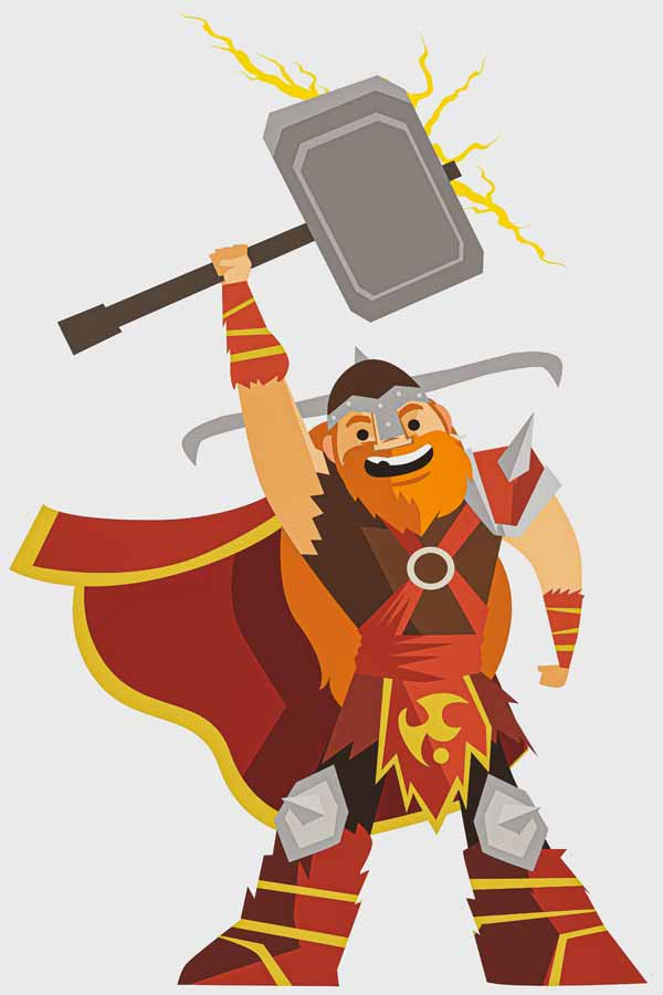 cartoon of Thor holding a giant anvil in the air with thunder lights coming off it