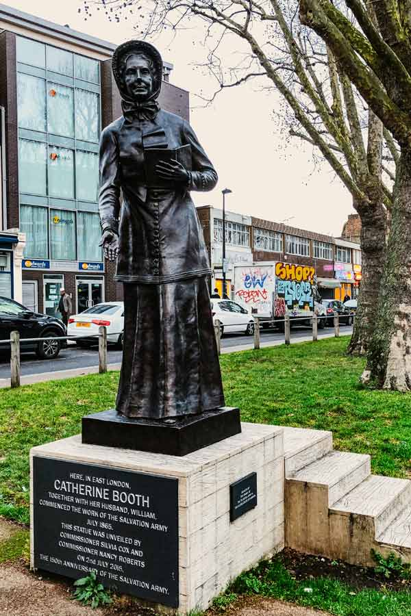 Statue of Catherine Booth, founder Salvation Army in Whitechapel, London
