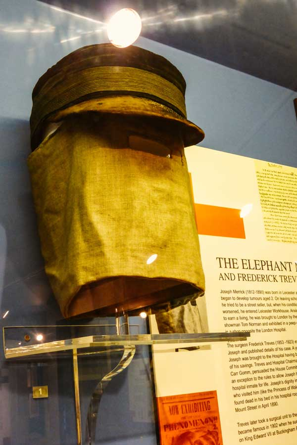 Mask worn by Joseph Merrick, on display in the Royal London Hospital museum in Whitechapel, London