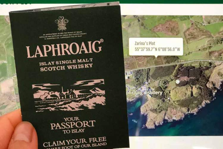 Zarina's Laphroaig plot indicated on an online map