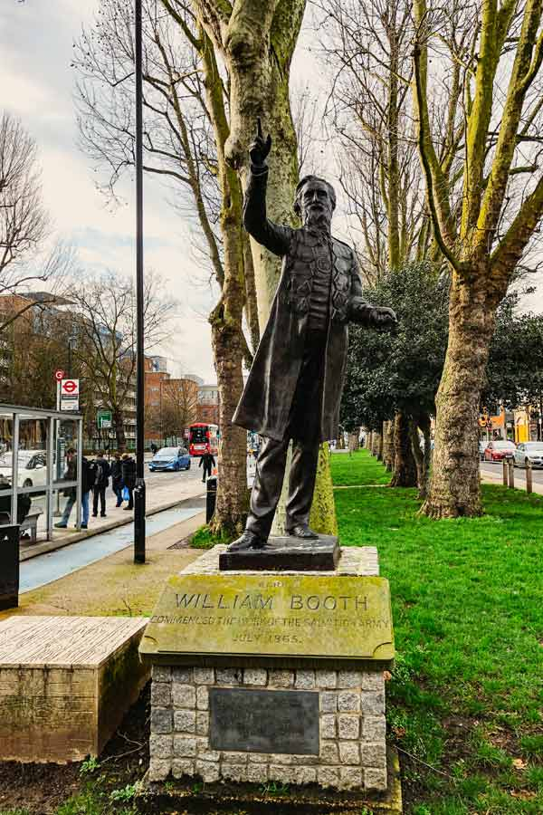 Statue of William Booth, founder Salvation Army in Whitechapel, London