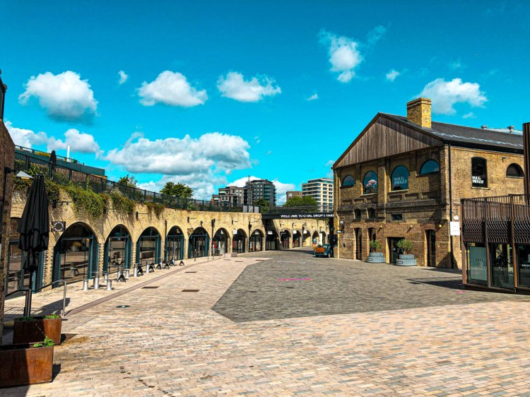 overview photo of the shops and restaurants at an empty Coal Drops Yard Kings Cross