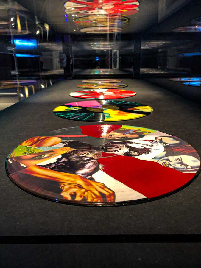 Christian Marclay collages on vinyl in the Electronic exhibition at the Design Museum, London