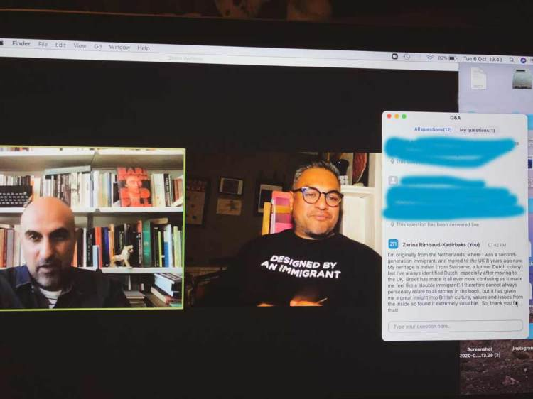 screenshot of my comment being read out during the The Good Immigrant book Q&A
