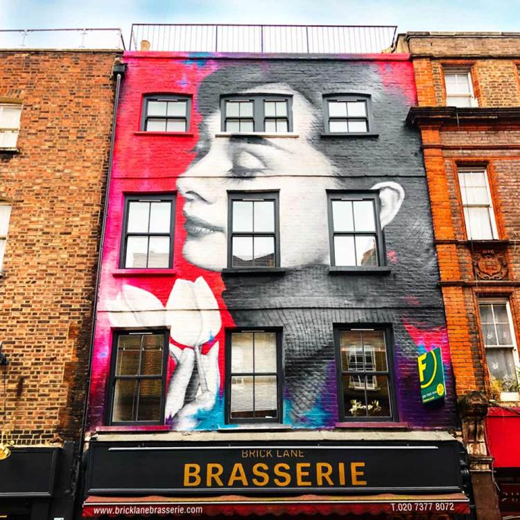 Mural of Audrey Hepburn on Brick Lane, London, by Zabou