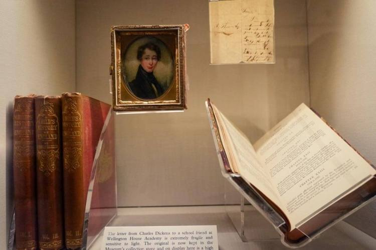 Items related to Charles Dickens's early life on display in his house in London