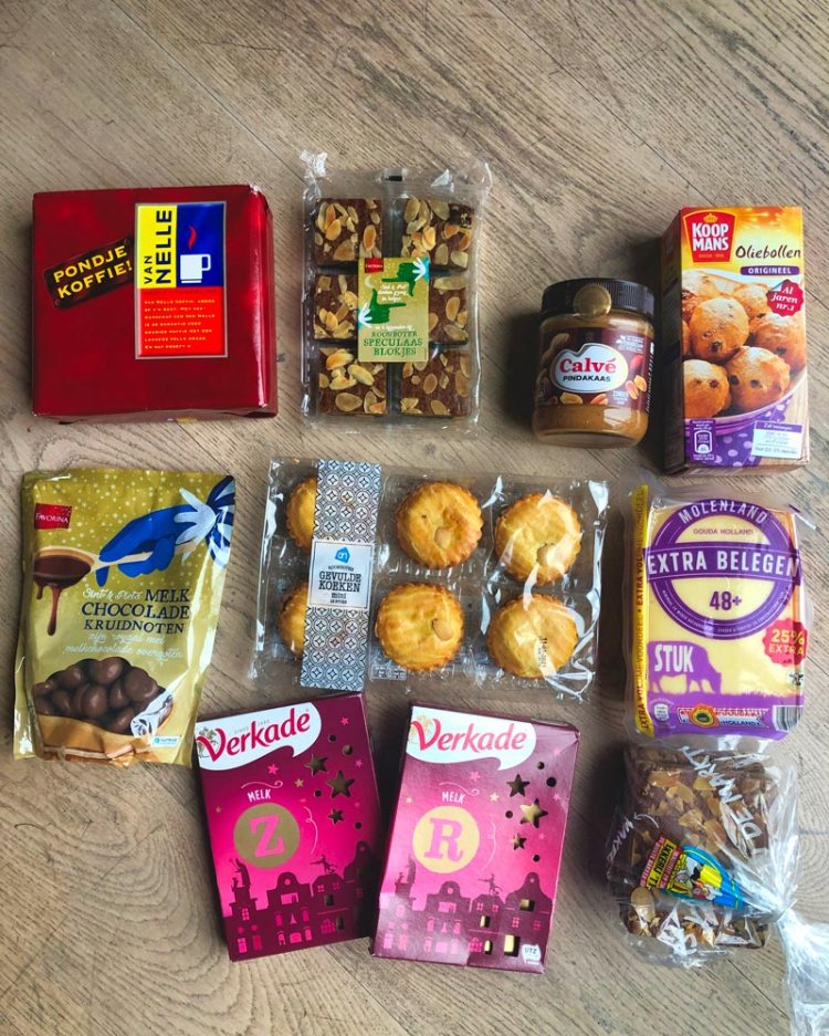 Contents of the parcel I received from my mum filled with special Dutch food we have for Sinterklaas