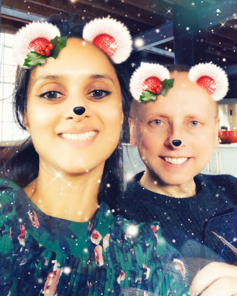 selfie of Robin and Zarina with a silly Christmas Snapchat filter